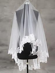 Véus de Noiva Uma Camada Véu Ruge Véu Ponta dos Dedos Borda com aplicação de Renda Borda Recortada Tule Renda