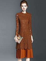 Lace Robe Femme Sortie Sophistiqué,Couleur Pleine Col Arrondi Midi Manches Longues Beige / Noir / Marron Polyester PrintempsTaille