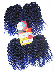 Jerry Curl Pre-loop Crochet Braids Black With Blue Hair Braids 9Inch Kanekalon 1 Package For Full Head 170g Hair Extensions