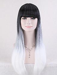 2015 nuevo negro gradiente lolita llegada + gris mujeres peluca pelucas llenas larga recta pelo ombre cosplay de anime