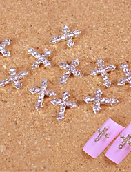 10pcs Silver Rhinestone Crossing Finger Tips Accessories Nail Art Decoration