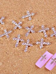 10pcs strass prata art pontas dos dedos cruzamento acessórios decoração de unhas