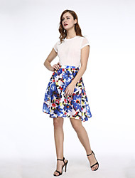 Women's Print New Arrival Fashion High Waist Skirts , Casual / Print Above Knee