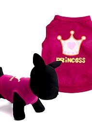 Собаки Футболка / Жилет Красный / Розовый Одежда для собак Лето Тиары и короны Милые / Мода