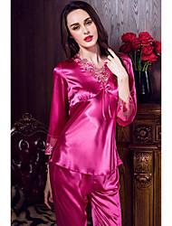 Damen Dessous / Passende Bralettes / Satin & Seide / Besonders sexy / Anzüge Nachtwäsche,Sexy / Spitze einfarbig-Satin / Seide / Eis-Seide