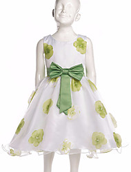 Girl's Wedding Party Pageant Birthday Dress Sweet Floral Printed Dress with Green Bowknot