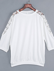 Damen Solide Einfach Ausgehen / Lässig/Alltäglich T-shirt,Rundhalsausschnitt Frühling / Herbst ½ Länge Ärmel Weiß Polyester Mittel