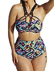 Bikinis Aux femmes Taille Haute / Fleur Bandeau Polyester