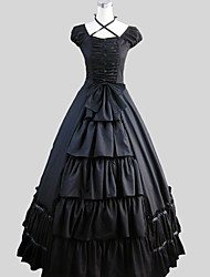 One-Piece/Dress Gothic Lolita Victorian Cosplay Lolita Dress Solid Short Sleeve Ankle-length Dress For Cotton