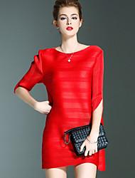 Dames Casual/Dagelijks Eenvoudig A-lijn Jurk Gestreept-Ronde hals Boven de knie Driekwart mouw Roze Rood Polyester Herfst Medium taille