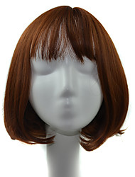 Short Bob Air Bang Curly Synthetic Wigs for Women Light Brown Heat Resistant Hair