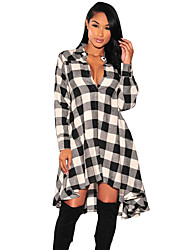 Women's Plaid Flared High Low Blouse Dress