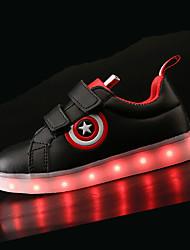 Jungen Schuhe PU Herbst Winter Komfort Leuchtende LED-Schuhe Sneakers LED Für Sportlich Weiß Schwarz