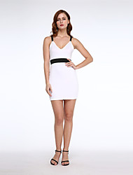 Mulheres Vestido Bodycon Sexy / Moda de Rua Color Block Acima do Joelho Decote V Algodão / Poliéster