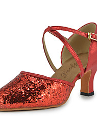 Women's Dance Shoes Modern shoes Leatherette Sequins Latin Heels Chunky Heel Indoor  Red M24