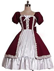 Uma-Peça/Vestidos Doce Rococo Cosplay Vestidos Lolita Cor Única Buffante Manga Curta Longuete Vestido Para Algodão