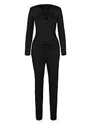 Women's Grommet Lace Up Long Sleeve Jumpsuit