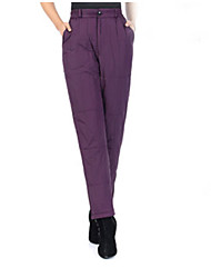 Women's Loose Chinos Pants,Casual/Daily Simple Solid High Rise Button Polyester Micro-elastic Winter