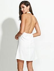 Femme Dos Nu Trapèze/Gaine Robe Décontracté/Quotidien Sexy/simple,Couleur Pleine Licou Mini Sans Manches Blanc/Noir Polyester EtéTaille