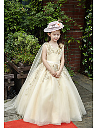 Ball Gown Floor Length Flower Girl Dress - Tulle Charmeuse Sleeveless V-neck with Beading
