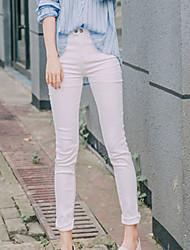Feminino Pequeno Skinny Chinos Calças-Cor Única Happy-Hour Casual Simples Fofo Cintura Alta Botão Algodão Micro-Elástico Com Molas Verão