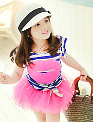 Girl's Cotton Fashion Summer Going out Casual/Daily Lips Stripe Tops & Lace Skirt Princess Dress Two-piece Set