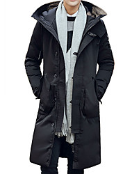 Men's Long Padded Coat,Vintage Street chic Plus Size Casual/Daily Formal Solid-Polyester Polyester Long Sleeve Hooded Blue Black Yellow