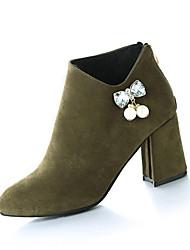 Women's Heels Fall Winter Other Fleece Office & Career Casual Chunky Heel Rhinestone Zipper Chain Black Green Gray