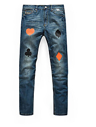 Men's Straight Jeans Pants,Casual/Daily Vintage Solid Print Animal Print Low Rise Zipper Rayon Micro-elastic All Seasons
