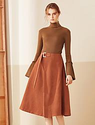 Damen Röcke,A-Linie einfarbigLässig/Alltäglich Hohe Hüfthöhe Midi Elastizität Polyester Micro-elastisch Riemengurte Herbst