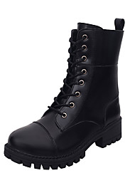 Women's Boots Fall Winter Other PU Office & Career Casual Low Heel Lace-up Black