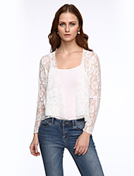 Women's Embroidery Solid White Long Sleeve Polyester Summer Thin Micro-elastic