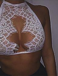 Feminino Lingerie com Renda Roupa de Noite,Sensual Renda Elastano Branco