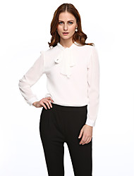 Women's Solid Red / White / Black Blouse,Shirt Collar Long Sleeve