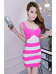 Women's Going out Casual/Daily Sexy Bodycon Dress,Solid Round Neck Midi Sleeveless Pink Red Black Cotton Summer Low Rise Micro-elastic