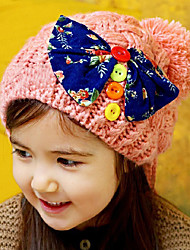 Girl's Knitting Cute Winter Going out/Casual/Daily Keep Warm Bowknot Headgear Solid Color Hat Children Cap