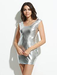 Женский Секси Облегающий силуэт Однотонный Платье,Мини Глубокий U-образный вырез Полиуретановая