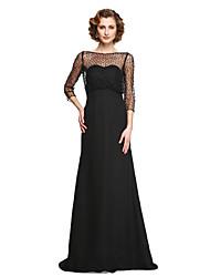 2017 Lanting bride® uma linha mãe do vestido de noiva - Andar de comprimento elegante chiffon meia manga com beading