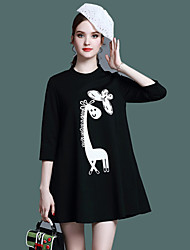 UNE FLEUR Women's Casual/Daily Simple A Line DressAnimal Print Embroidered Stand Above Knee  Sleeve Black Polyester Summer Mid Rise Micro-elastic