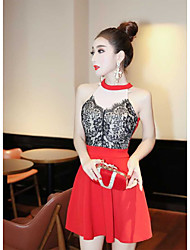 Women's Going out Casual/Daily Sexy Bodycon Dress,Solid Polka Dot Crew Neck Midi Mini Sleeveless Red Black Cotton Summer Low Rise