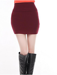 Women's Bodycon Solid Knitting Skirts,Going out / Casual/Daily / Party/Cocktail Sexy / Cute / Chinoiserie Mid Rise Mini Elasticity Spandex