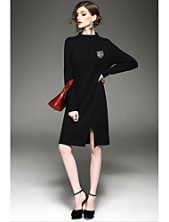 Women's Formal Boho Sweater Dress,Solid Round Neck Above Knee Long Sleeve Red Black Gray Polyester Winter Mid Rise Inelastic Medium