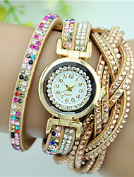 Women's Fashion Watch Bracelet Watch Quartz Leather Band Flower Charm Black White Blue Pink Multi-Colored Beige Brand