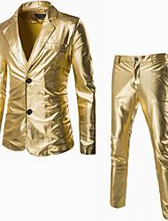 男性 カジュアル/普段着 秋 冬 スーツ,シンプル ストリートファッション ノッチドラペル ソリッド ブラック ゴールド シルバー コットン 長袖