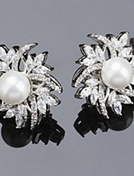 Stud Earrings Zircon Cubic Zirconia Alloy Statement Jewelry Silver Jewelry Casual 1 pair