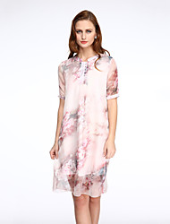 Women's Vintage Print Plus Size / Loose Dress,Round Neck Knee-length Polyester