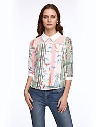 Women's Patchwork White Blouse,Shirt Collar Long Sleeve