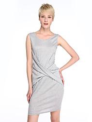 Robe Aux femmes Moulante Sexy,Couleur Pleine Col Arrondi Mi-long Coton / Polyester / Spandex