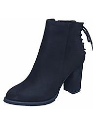 Черный Оливковый-Женский-Для праздника-Замша-На толстом каблуке-Другое-Ботинки