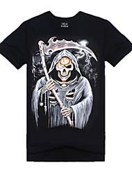 Herren Druck Einfach Aktiv Punk & Gothic Ausgehen Sport Urlaub T-shirt,Rundhalsausschnitt Kurzarm Schwarz Baumwolle Elasthan